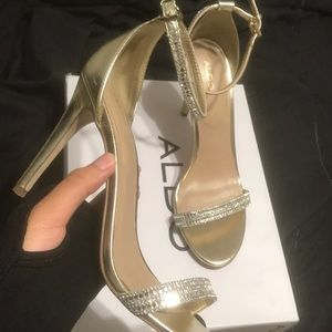 Gold Tone Diamond Aldo Heels